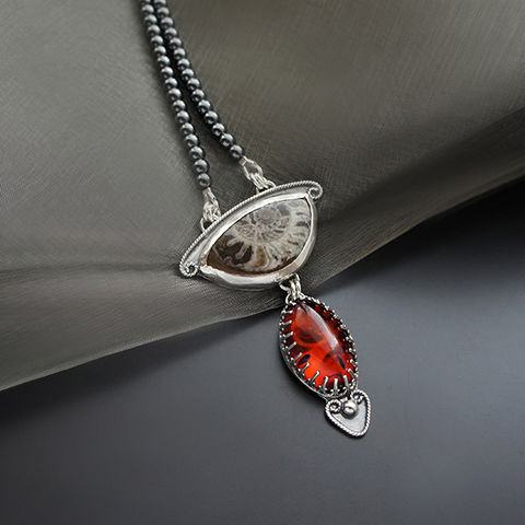 Silver,Necklace,With,Ammonite,&,Amber,Silver ammonite pendant, amber necklace, jewellery store London, gift for her