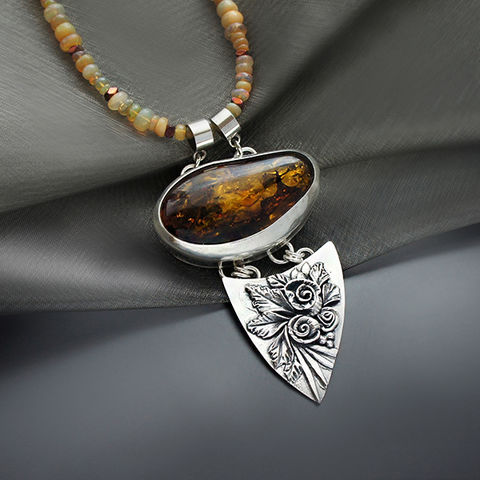 Silver,Necklace,with,Fiery,Opals,&,Amber,Silver fiery opal necklace, amber pendant, bespoke jewellery London, gift for her