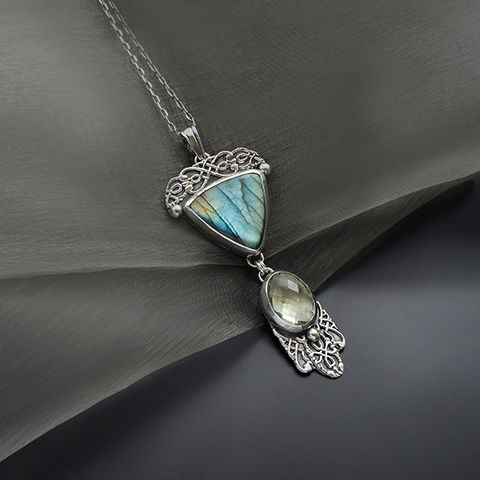 Silver,Pendant,Necklace,With,Labradorite,&,Prasiolite,Silver labradorite Pendant, prasiolite necklace, jewellery store London, gift for her