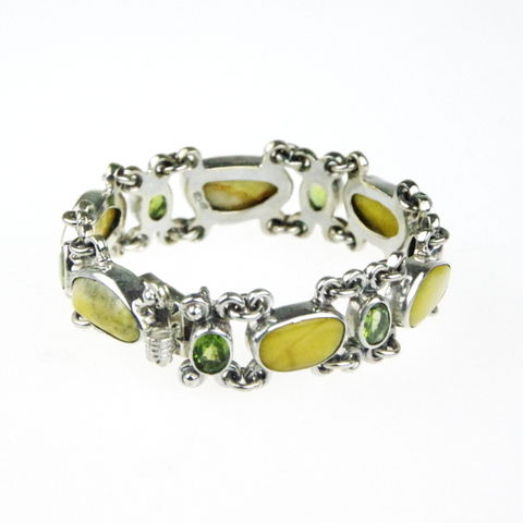Silver,Narrow,Bracelet,With,Amber,&,Peridot,Amber silver bracelet, peridot bracelet, bespoke jewellery london, gift for her