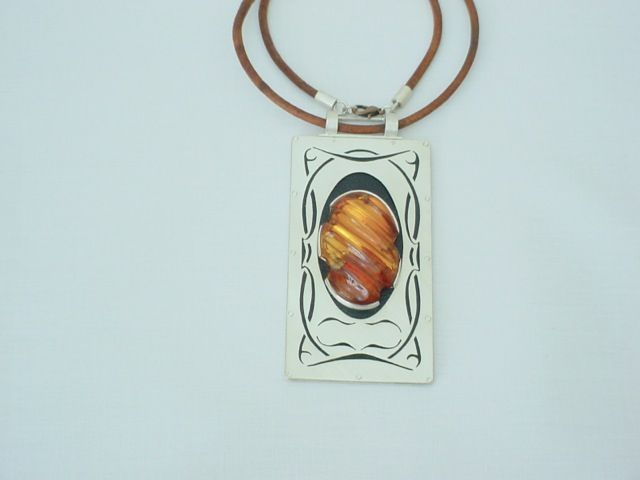 Art Nouveau With A Touch Of Folklore | SILVER & AMBER JEWELLERY SET - product images  of