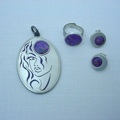 Beautiful,Stranger,|,Silver,&,Purple,Turquoise,Jewellery,Set,Purple Turquoise Pendant, silver enamel ring, art jewellery store London, unique gift for her