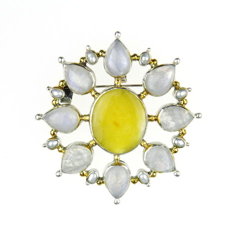 Silver,Amber,Brooch,Pendant,With,Moonstone,&,White,Pearls,Silver amber brooch, pearl pendant, unique jewellery London, gift for her