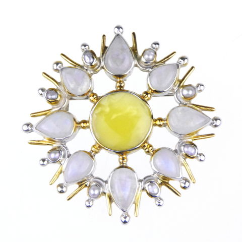 Silver,Amber,Brooch,Pendant,With,Pearls,&,Moonstone,Silver Amber Brooch, moonstone pendant, unique jewellery London, gift for her