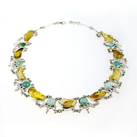 Silver,Amber,Collar,Necklace,With,Pearls,&,Turquoise,Silver Amber Necklace, turquoise collar, unique jewellery store London, gift idea for her