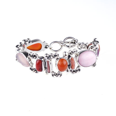 Silver,Narrow,Bracelet,With,Red,&,Pink,Gemstones,Silver Narrow Bracelet, gemstones jewellery shop London, gift for her