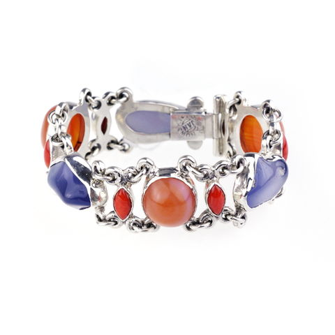 Silver,Narrow,Bracelet,With,Coral,&,Gemstones,Silver Narrow Coral Bracelet, gemstones jewellery shop London, gift for her