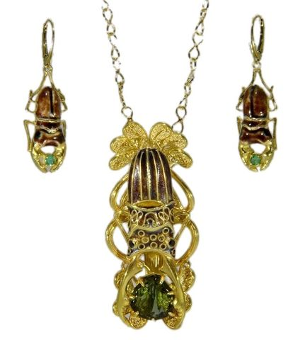 Scarab,|,Gilded,Silver,Earrings,With,Emerald,Gilded Silver Earrings, emerald earrings, Egyptian jewellery London, gift for her