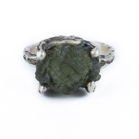 Organic,Moldavite,Ring,Organic Moldavite  Ring, silver jewellery shop London, unique gift idea