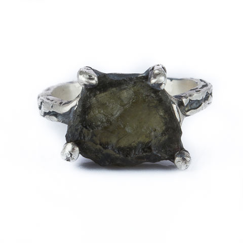 Raw,Moldavite,Ring,Raw Moldavite Ring, silver organic jewellery gift, bespoke jewellery London