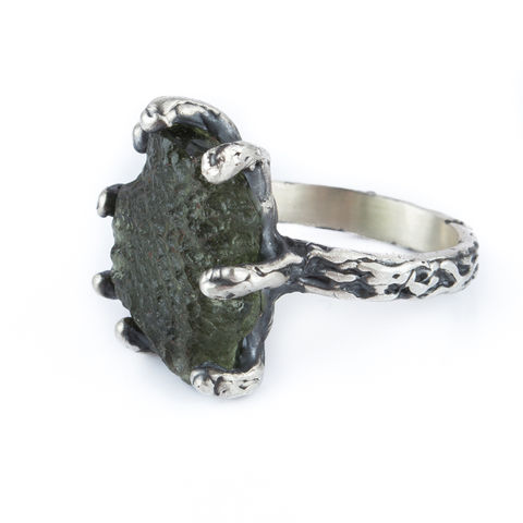 Silver,&,Moldavite,Ring,Silver Moldavite Ring, organic jewellery shop London, gift idea for her