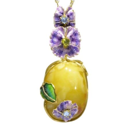 Purple,Flowers,|,Gilded,Silver,&,Amber,Pendant,Necklace,With,Gemstones, Gilded Silver Pendant, amber necklace, gemstone jewellery shop London