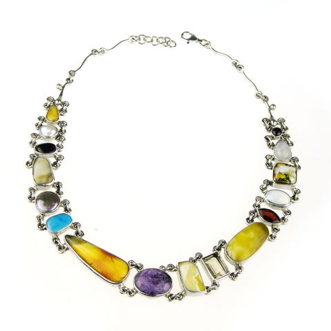 Silver,&,Amber,Collar,Necklace,With,Gemstones,Pearls,Silver & Amber Collar, pearl necklace, gemstone jewellery London, gift for her
