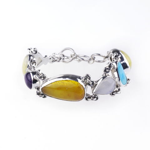 Silver,&,Amber,Narrow,Bracelet,With Gemstones,Amber Narrow Bracelet, silver bracelet, gemstone jewellery shop London