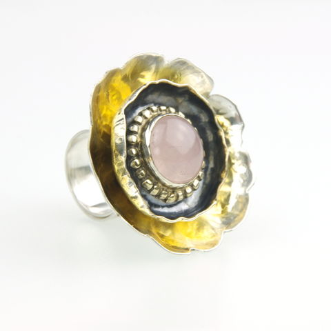 Anemone,|,Silver,Rose,Quartz,Chunky,Ring,Silver Chunky Ring, Rose Quartz jewellery London