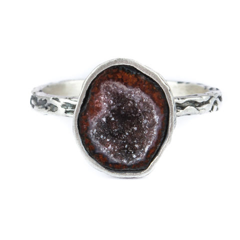Silver,Ring,With,Baby,Agate,Geode,Baby Agate Geode Ring, silver organic jewellery London, gift for her