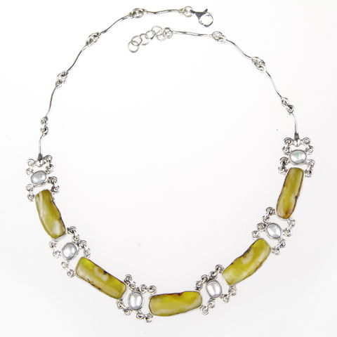 Silver,Amber,Collar,Necklace,With,Pearls,Silver amber collar necklace,  pearl jewellery London, gift for her