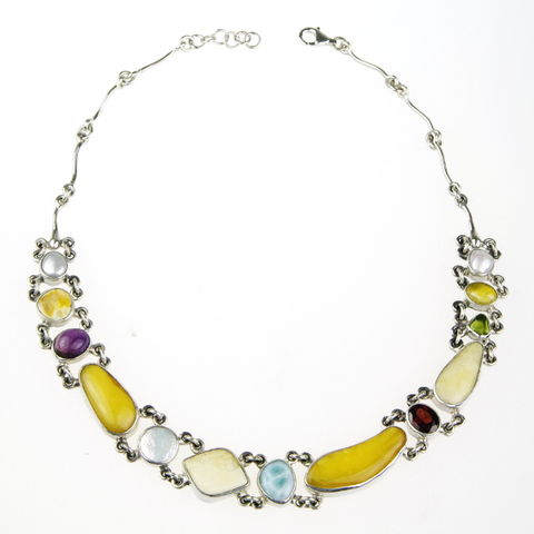 Silver,Amber,Collar,Necklace,With,Pearls,&,Gemstones,Silver Amber Collar Necklace, pearl jewellery London, gemstone gift