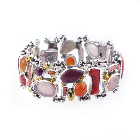 Purple,Rain,III,|,Silver,Coral,Statement,Bracelet,With,Gemstones,Coral Statement Bracelet, silver gemstone jewellery London, luxury gift