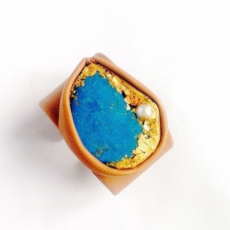 Leather,Bracelet,With,Turquoise,,Gold,,Pearl,,Resin,leather cuff bracelet, turquoise jewellery, pearl bracelet