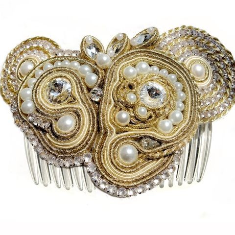 Soutache,Bridal,Hair,Comb,Soutache Bridal Hair Comb, Swarovski crystals hair comb, bridal jewellery