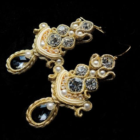 Soutache,Bridal,Earrings,With,Swarovski,Crystals,Soutache Bridal Earrings, Swarovski Crystals, bridal jewellery london