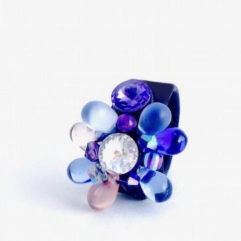 Flower,|,Leather,Ring,With,Glass,,Swarovski,Crystal,swarovski elements ring, glass rings, leather jewellery London