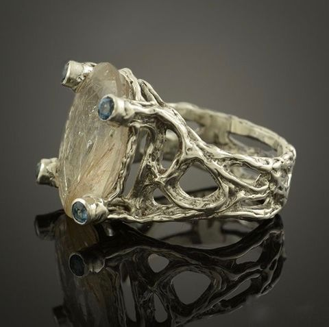 RUTILE,QUARTZ,&,TOPAZ,RING,Rutile Quartz Topaz Ring, handcrafted silver jewellery