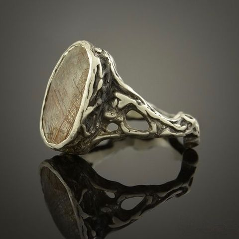 SILVER,RING,With,RUTILATED,QUARTZ,Silver Ring With Rutilated Quartz, handmade jewellery united kingdom