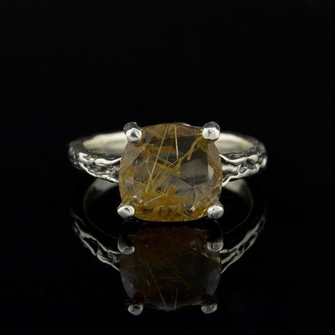 QUARTZ,With,Golden,RUTILE,RING,Quartz Ring, silver solitaire ring, handmade jewellery London