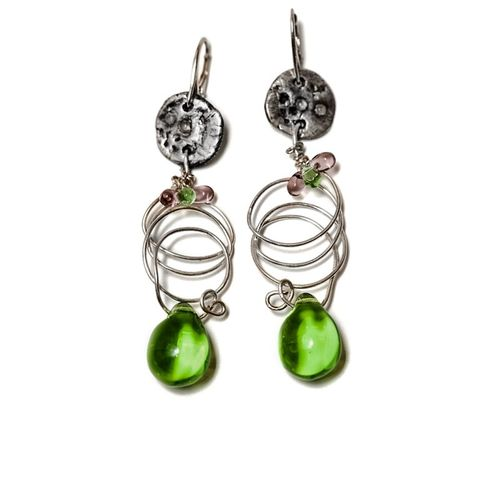 Green,Drops,|,Silver,Earrings,With,Glass,Sterling Silver Droplet Earrings With Glass, Sterling Silver Jewellery, Handmade Jewellery
