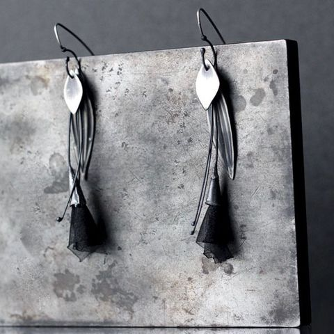 Mactan,|,SILVER,DANGLE,EARRINGS,With,Organza,Silver Dangle Earrings, black organza earrings, bespoke handmade jewellery London