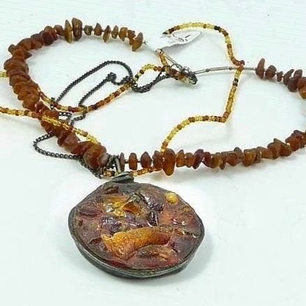 AMBER,In,RESIN,|,NECKLACE,Tiffany,Technique,Amber Necklace, resin pendant, handmade designer jewellery London