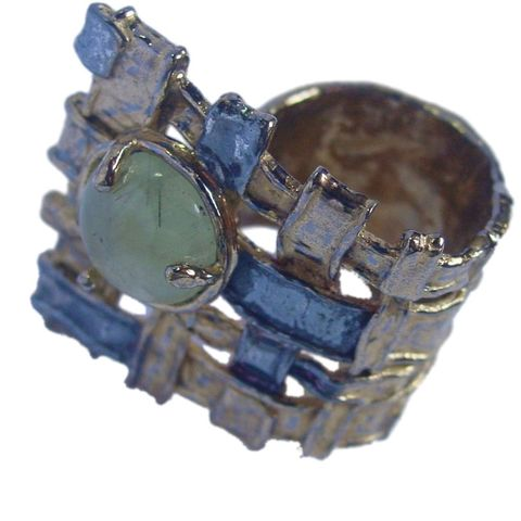 IM,XX,|,SILVER,,Gold,Plated,Ring,With,Prehnite,Gold Plated Ring With Prehnite, Contemporary Jewellery Shop London
