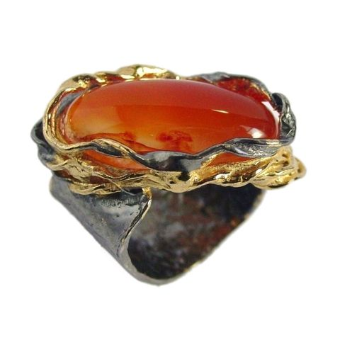 IM,IX,|,SILVER,And,Gold,Plated,Ring,With,Carnelian,Gold Plated Ring, carnelian silver ring, art jewellery shop