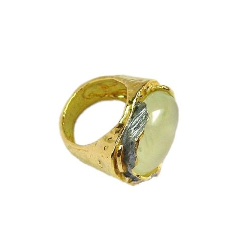 IM,XXII,|,Gold,Plated,Prehnite,Ring,Gold Plated Prehnite Ring, silver jewellery, prehnite sterling silver ring