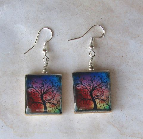 Rainbow,Abstract,Tree,Love,Scrabble,Earrings,Jewelry, earrings, Art, altered art,  charm, scrabble tile, Designs by Chastity, abstract, tree, sterling silver