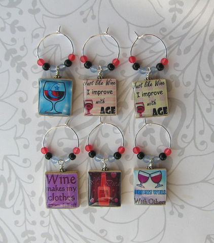 LOL,Scrabble,Wine,Charms,wine charms, kitchen, accessories,  Art, altered art, LOL, funny phrases,  beer bottle, party favor, scrabble tile, Designs by Chastity