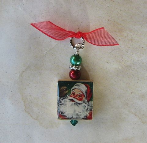 Santa,Christmas,Pendant,Jewelry, Pendant, Art, altered art, charm necklace, scrabble tile, silver ball chain, Designs by Chastity, perfect gift, santa claus, st.nick, red, green, christmas