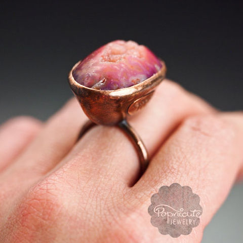 RATTLE,BOAT,copper ring, pink drusy agate, popnicute jewelry, rattle ring, unique gift for mothers,