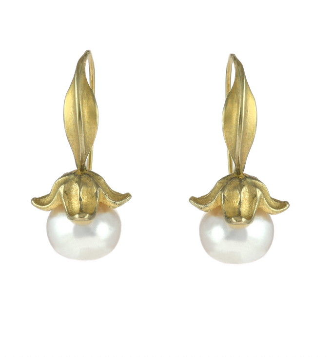 Flower Fresh Water Pearls Gold - Earrings - product image