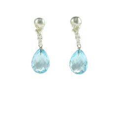 Organica,Blue,Topaz,Earrings,organic, Women's, earrings, blue topaz, silver, Sterling silver, blue, accesories
