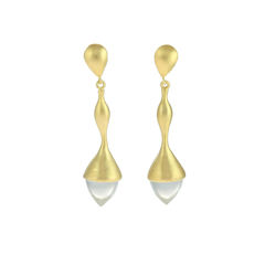 H20,Rock,Crystal,on,18ct.,Gold,Vermeil,-,Earrings,Rock crystal earrings, crystal earrings, transparent earrings, neutral earrings, goes with everything earrings, Cabochon earrings, gold vermeil earrings, gold earrings, Women's jewellery, Women's earrings, Spring earrings, Autumn earrings, Sensual earring
