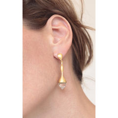 H20 Rock Crystal on 18ct. Gold Vermeil - Earrings - product images 2 of 3