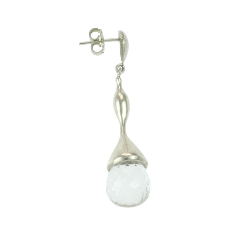 H20 Faceted Rock Crystal on Sterling Silver - Earrings - product image