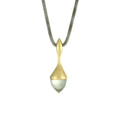H20,Pendant,Necklace,Mint,Quartz,on,18ct,Gold,Vermeil,Militza-Ortiz, amethysts, cabochon, jewellery, jewelry, accessories, Handmade Jewellery, fluid,vermeil, Sterling Silver, Pendant, Necklace, Militza Ortiz, contemporary jewellery, pendant necklace