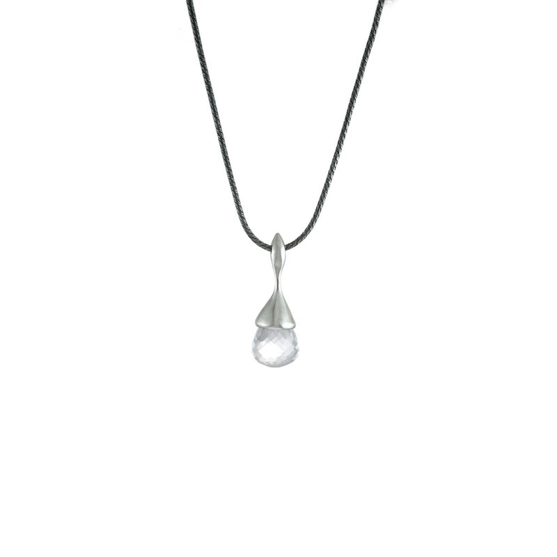 H20 Pendant Necklace Rock Crystal on Sterling Silver - product image