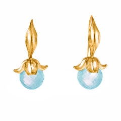 Flower Blue Topaz Gold - Earrings - product images 2 of 3