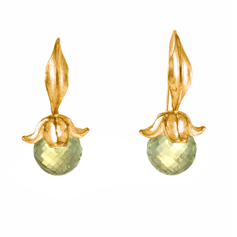 Flower Lemon Quartz Gold - Earrings - product image