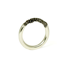 Rhodium,Organica,Band,Ring,Jewellery, jewelry, Militza-Ortiz, ring, stacking rings, accessories, organica, organic, Women's, rhodium, silver, black